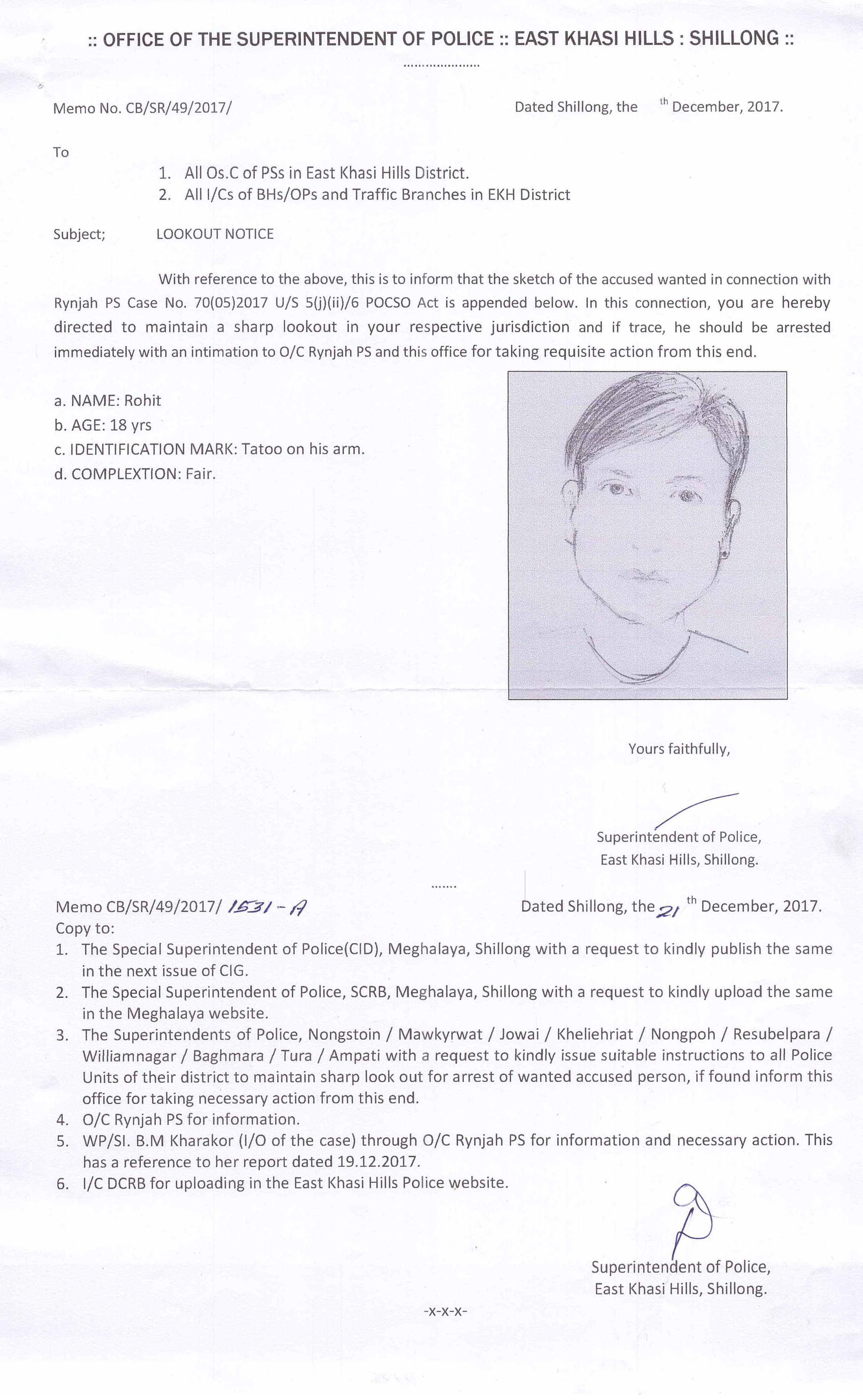 East khasi hills district police shillong meghalaya press release lookout notice 22122017 thecheapjerseys Gallery